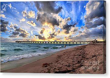 Juno Beach Pier Florida Sunrise Seascape D7 Canvas Print by Ricardos Creations