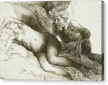 Jupiter And Antiope Canvas Print by Rembrandt