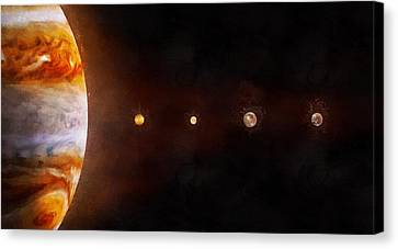 Jupiter And Its Moons, Sizes To Scale Canvas Print