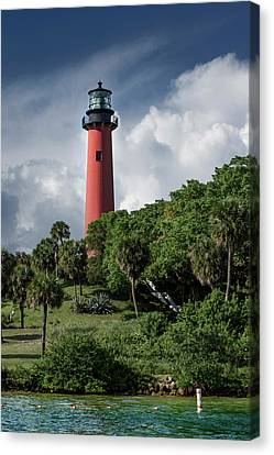 Canvas Print featuring the photograph Jupiter Inlet Lighthouse by Laura Fasulo