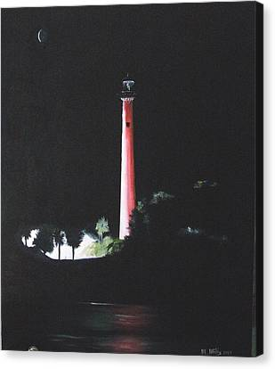 Jupiter Lighthouse At Night Canvas Print