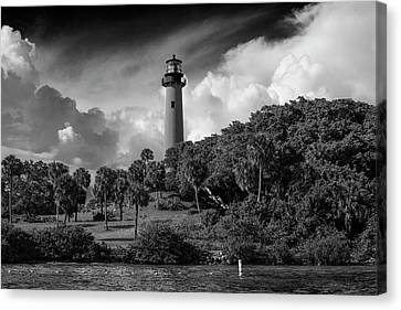 Jupiter Lighthouse Bw Canvas Print by Laura Fasulo