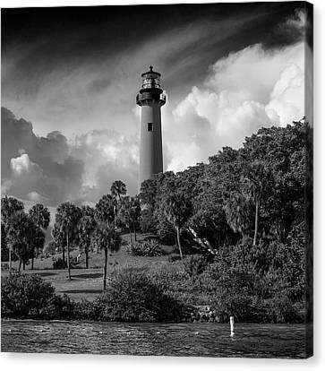 Jupiter Lighthouse Bw Sq Canvas Print