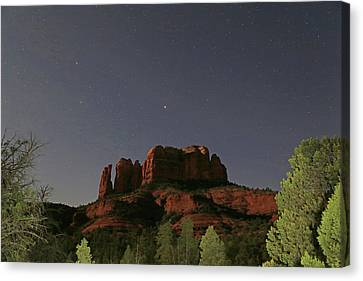 Jupiter Over Cathedral Rock At Midnight Canvas Print by Donna Kennedy
