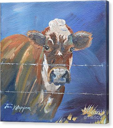 Canvas Print featuring the painting Just A Big Happy Cow On A Little Square Canvas by Jan Dappen