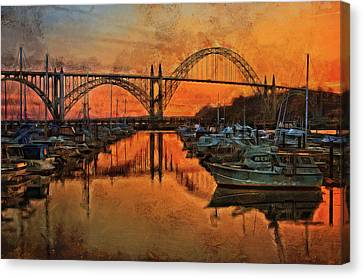 Just After Sunset On Yaquina Bay Canvas Print by Thom Zehrfeld