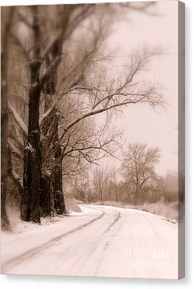 Winter In The Country Canvas Print - Just Around The Bend  by Carol Groenen