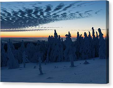 Just Before Sunrise On The Brocken In The Harz Mountains Canvas Print by Andreas Levi