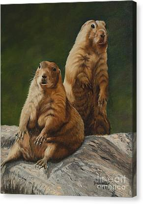 Just Chillin - Prairie Dogs Canvas Print by Danielle Smith