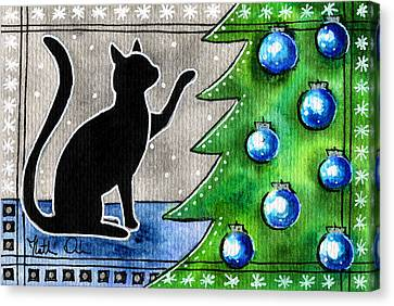 Just Counting Balls - Christmas Cat Canvas Print