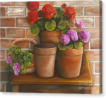 Canvas Print featuring the painting Just Geraniums by Marlene Book