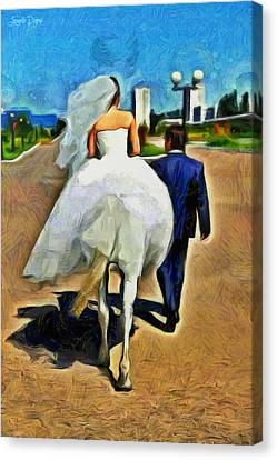 Hat Canvas Print - Just Married - Pa by Leonardo Digenio