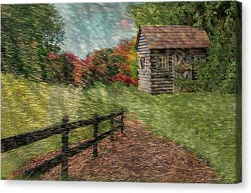 Log Cabins Canvas Print - Just Passing By by Reese Lewis
