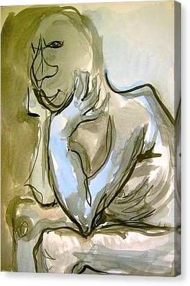Canvas Print featuring the painting Just Thinking by Mary Schiros