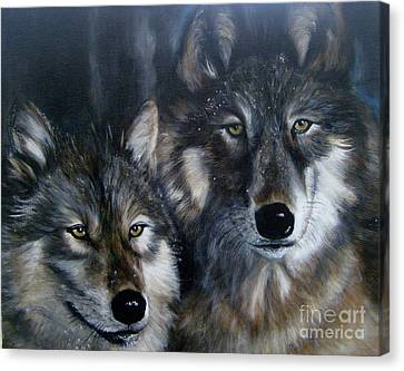 Just Us Two - Pair Of Snow Wolves Canvas Print by Julie Bond