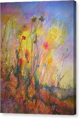 Canvas Print featuring the painting Just Weeds by Mary Schiros