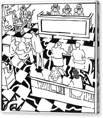 Justice Monkeys Canvas Print by Yonatan Frimer Maze Artist