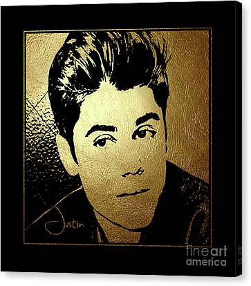 Justin Bieber In Gold Canvas Print by Wagner Povoa