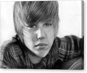 Justin Bieber Canvas Print by Nat Morley