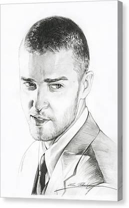 Justin Timberlake Drawing Canvas Print by Lin Petershagen