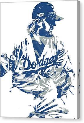 Baseball Stadiums Canvas Print - Justin Turner Los Angeles Dodgers Pixel Art 15 by Joe Hamilton