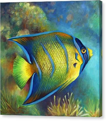 Juvenile Queen Angel Fish Canvas Print by Nancy Tilles