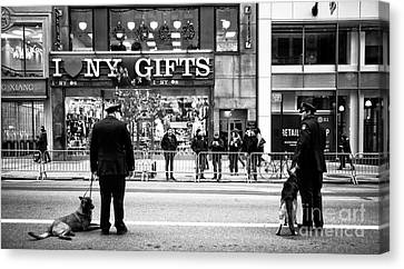 Police Officer Canvas Print - K-9 In The City by John Rizzuto
