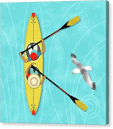 K Is For Kayak And Kittiwake Canvas Print by Valerie Drake Lesiak
