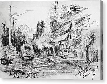 Cars Canvas Print - K Varnali Street Nea Erythraia  by Ylli Haruni