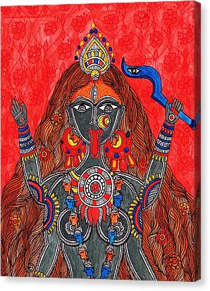 Kaali- The Fierce Form Canvas Print by Shishu Suman
