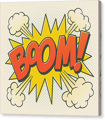 Explosion Canvas Print - Comic Boom On Off White by Mitch Frey