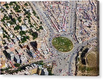 Kabul Traffic Circle Aerial Photo Canvas Print
