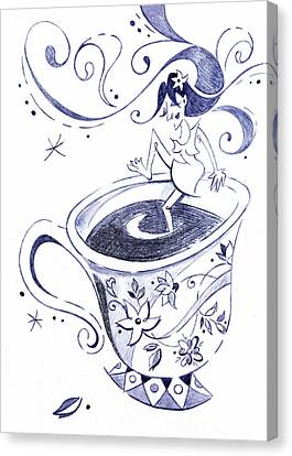 Kaffee - Arte Cafe - Coffee Cup Drawing Canvas Print