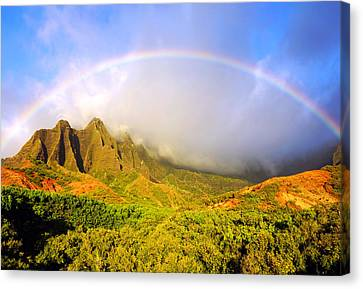 Kalalau Sunset Rainbow Kauai Canvas Print by Kevin Smith