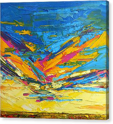 Kaleidoscope Sky At Sunset Modern Impressionistic Palette Knife Painting Canvas Print by Patricia Awapara