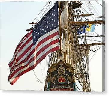 Kalmar Nyckel American Flag Canvas Print by Alice Gipson