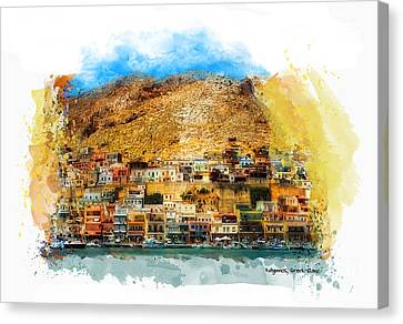 Kalymnos Greek Island Canvas Print by Justyna JBJart