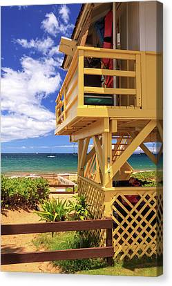 Canvas Print featuring the photograph Kamaole Beach Lifeguard Tower by James Eddy
