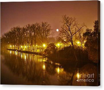 Kamm Island By Lamp Post Lights With Moonrise    Autumn      Indiana    Canvas Print by Rory Cubel