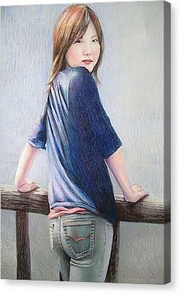 Kanae In Jeans Canvas Print by Tim Ernst
