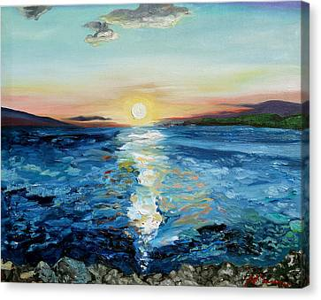 Kanaio Sunset / Between The Split Canvas Print by Joseph Demaree