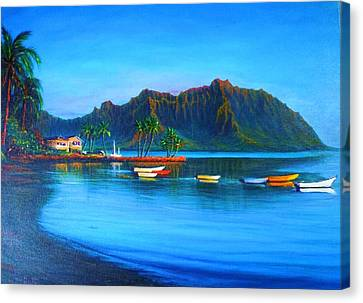 Kaneohe Bay - Early Morning Glass Canvas Print by Joseph   Ruff