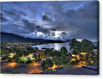 Hawaii Canvas Print - Kaneohe Bay Night Hdr by Dan McManus