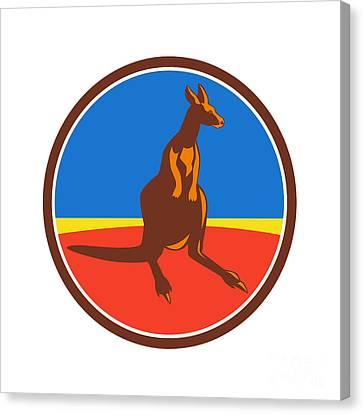 Kangaroo Circle Retro Canvas Print by Aloysius Patrimonio