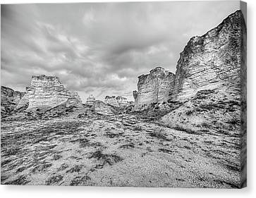 Canvas Print featuring the photograph Kansas Badlands Black And White by JC Findley