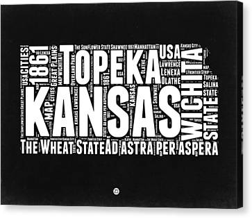 Kansas Black And White Word Cloud Map Canvas Print by Naxart Studio