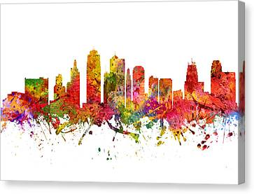 Kansas City Cityscape 08 Canvas Print by Aged Pixel