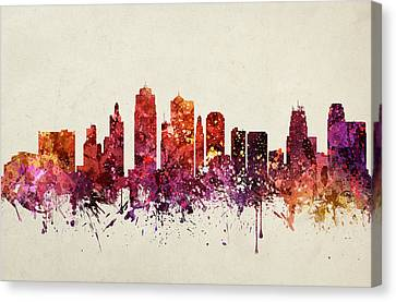 Kansas City Cityscape 09 Canvas Print by Aged Pixel