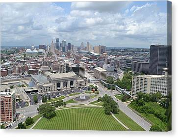 Kansas City Cityscape Canvas Print by Shelley Wood