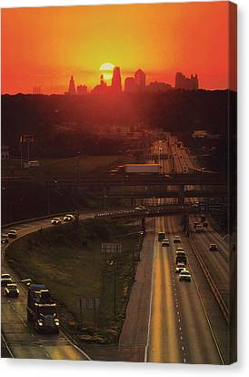 Kansas City I 70 Sunset Canvas Print by Don Wolf